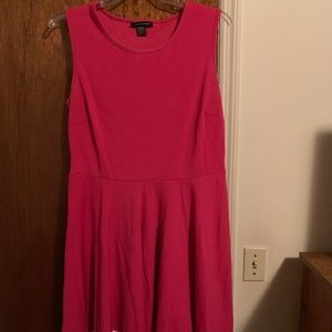 Pink and white fit and flare dress